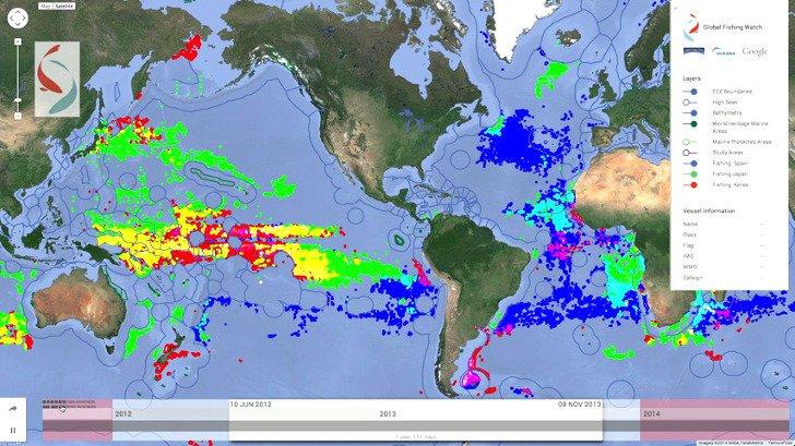 Global Fishing watch map