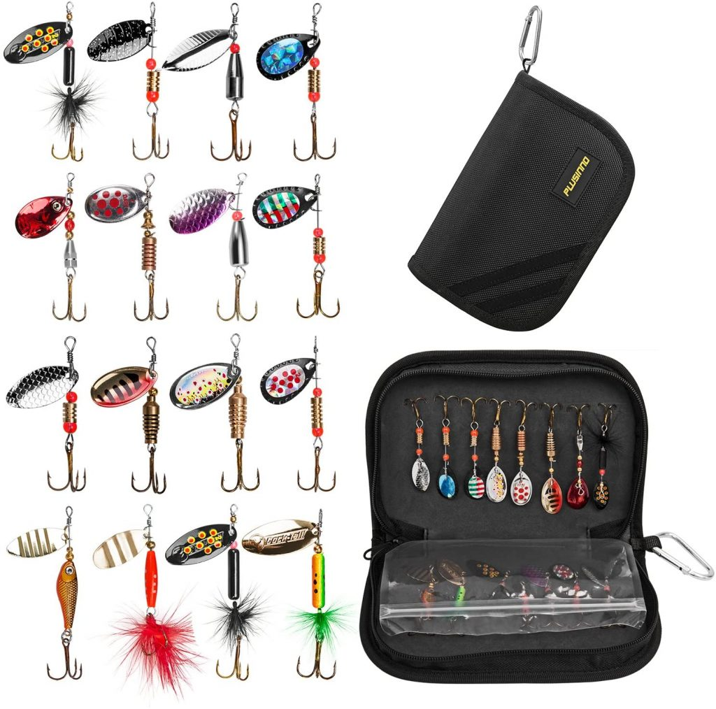 PLUSINNO Fishing Lures for Bass 16pcs Spinner Lures with Portable Carry Bag